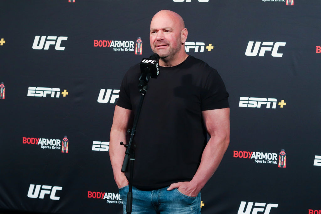 Dana White speaking with journalists