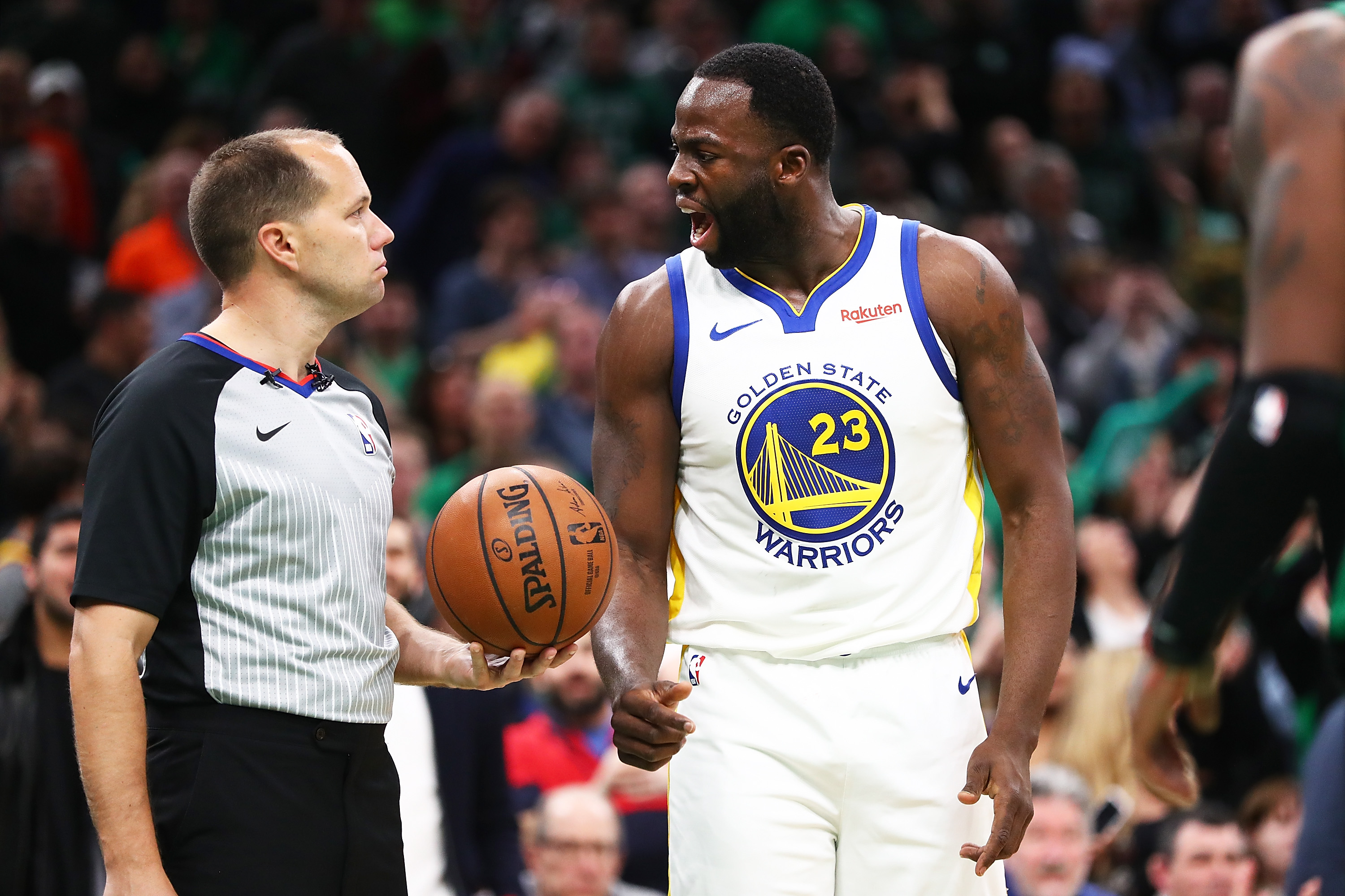 Draymond Green of the Golden State Warriors yells at the referee