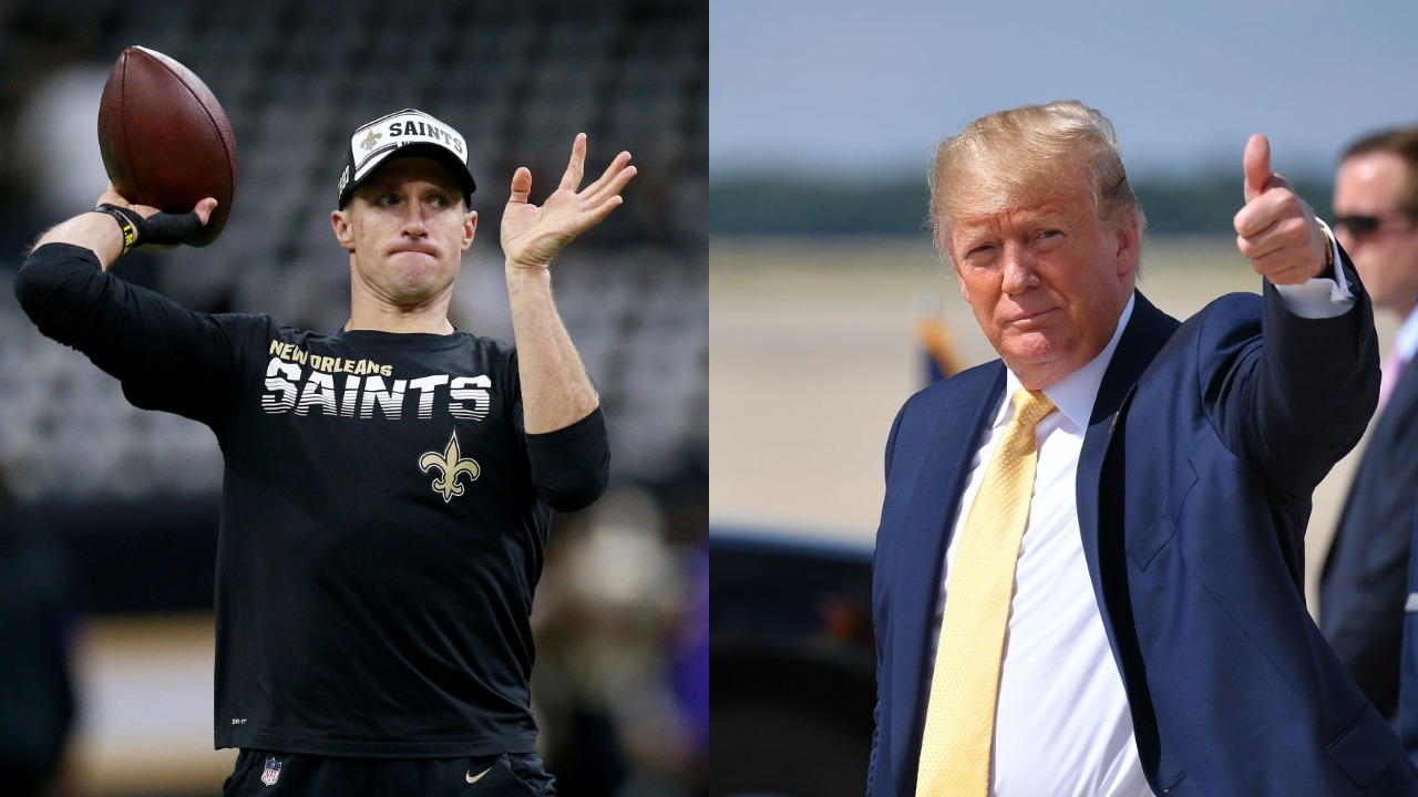 New Orleans Saints quarterback Drew Brees (L) may have just entered an unwinnable war with President Donald Trump over the national anthem.