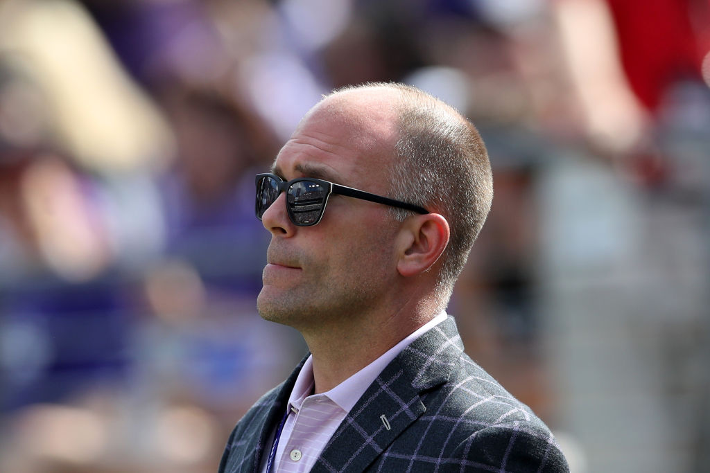 General manager Eric DeCosta of the Baltimore Ravens