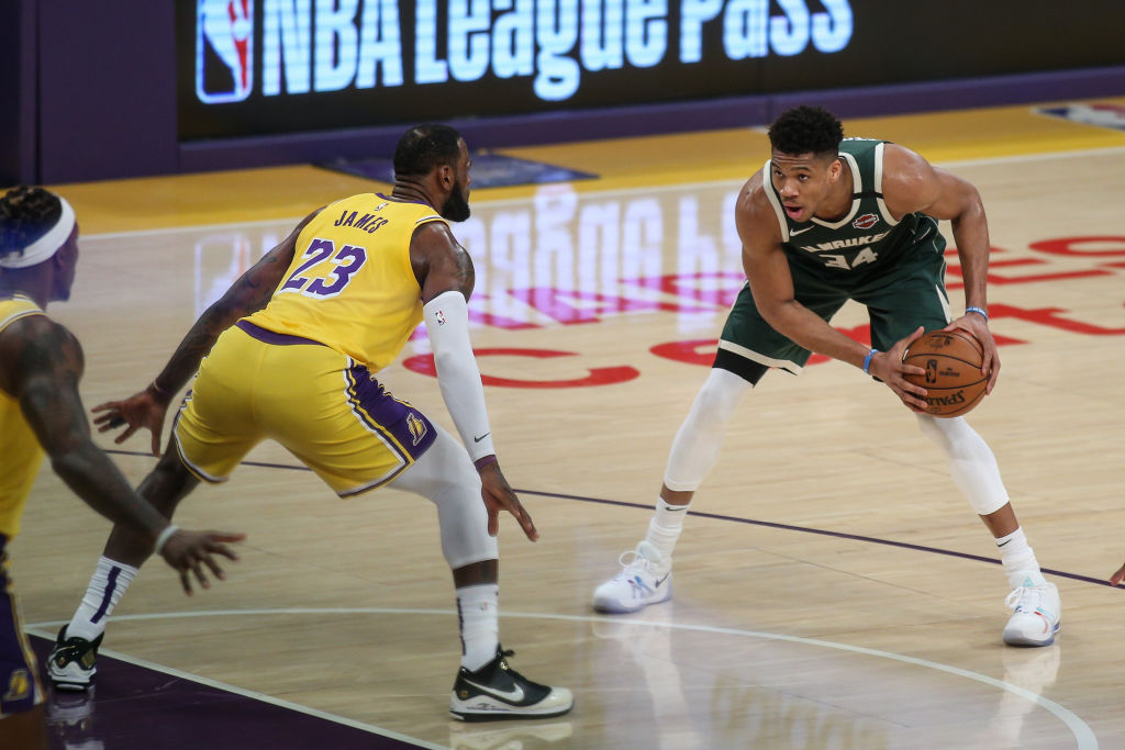 Giannis Antetokounmpo playing against the Lakers
