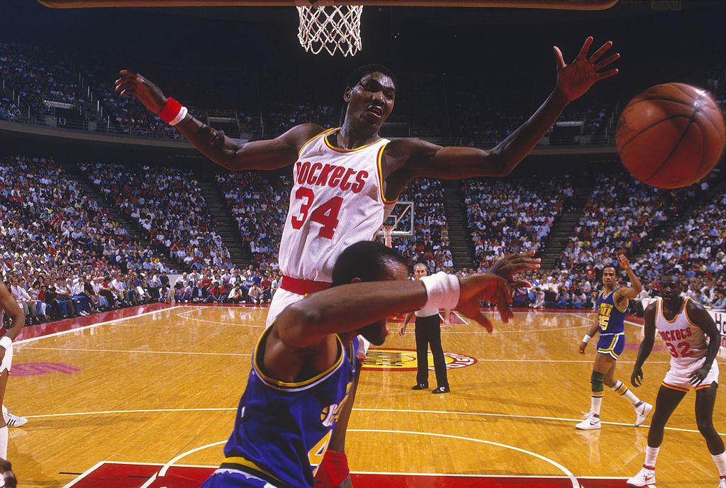 Hakeem Olajuwon blocking a shot during an NBA game