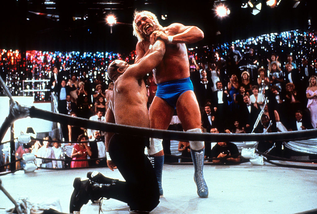 Hulk Hogan is choked during a match in the 1989 film 'No Holds Barred'