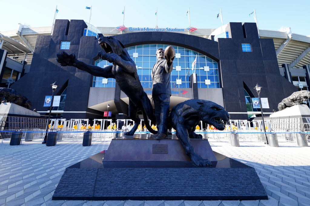 Jerry Richardson stood in statue form outside the Carolina Panthers home stadium.