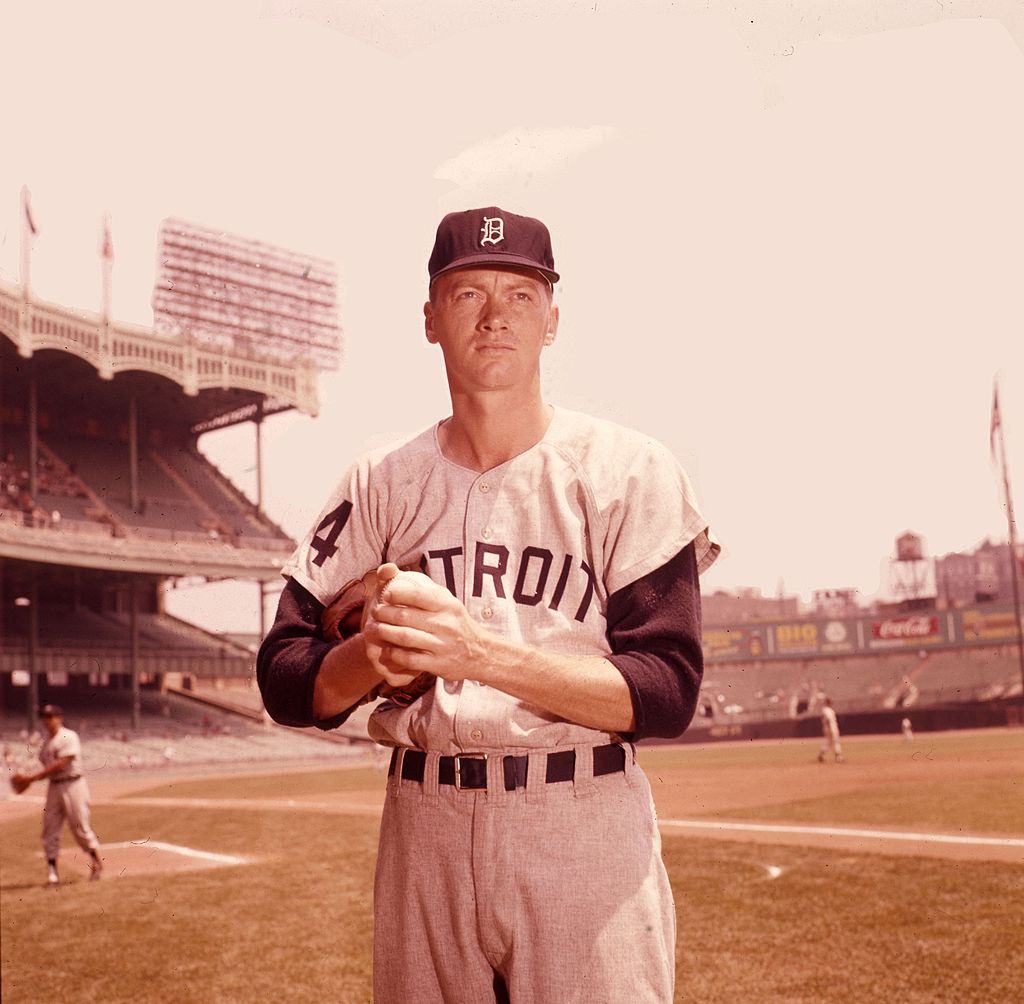 Jim Bunning, pitcher for the Detroit Tigers, prepares for a game