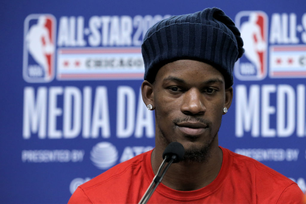 Jimmy Butler of the Miami Heat speaks to the media during 2020 NBA All-Star - Practice