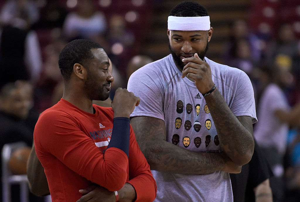 John Wall (L) wants the Washington Wizards to acquire DeMarcus Cousins, his former teammate at Kentucky.