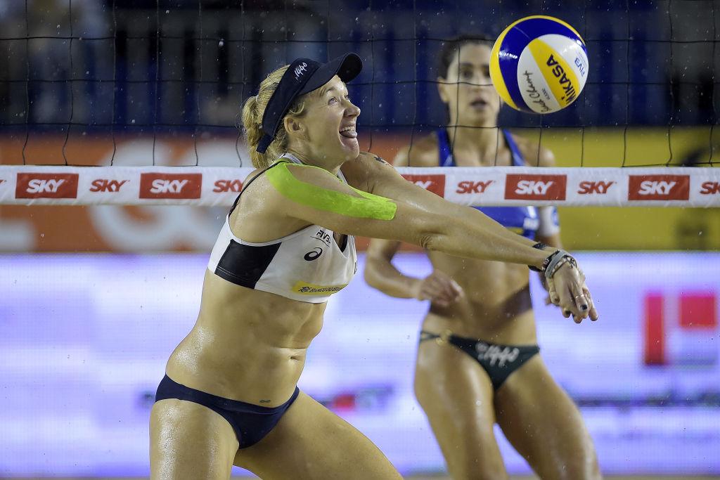 Kerri Walsh Jennings during Beach Volleyball World Tour Itapema in 2018 |  Alexandre Loureiro/Getty Images