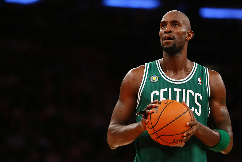 Kevin Garnett shooting a free throw for the Celtics