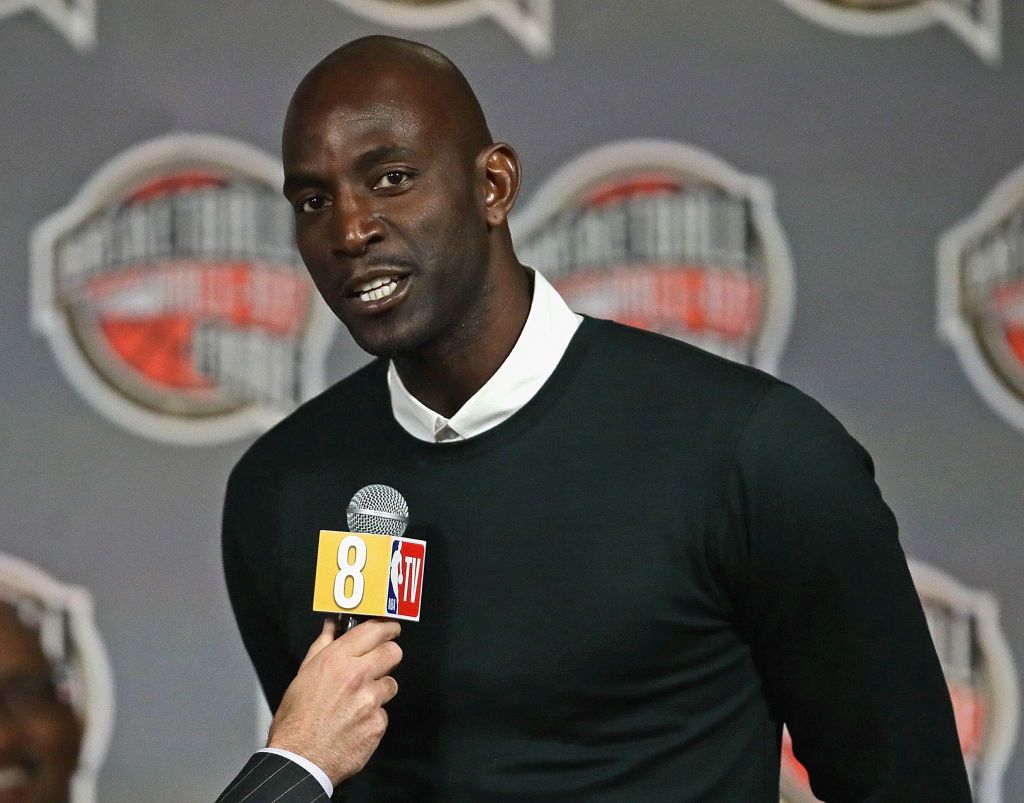 Kevin Garnett giving an interview at the NBA All-Star game