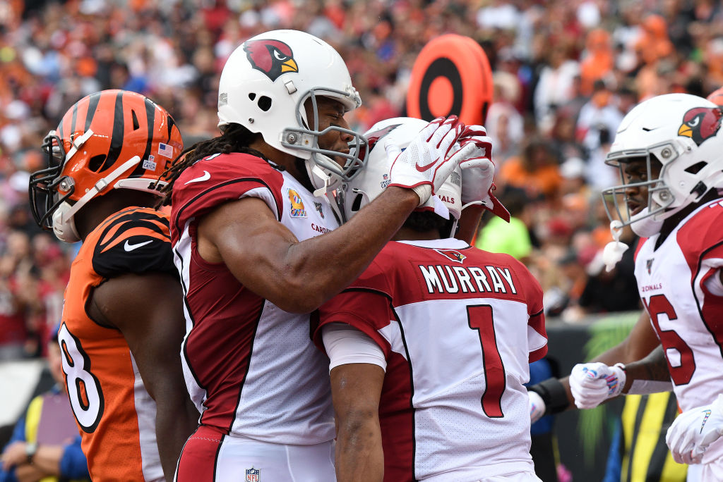 Legendary Arizona Cardinals receiver Larry Fitzgerald (L) expects a big 2020 season from quarterback Kyler Murray.