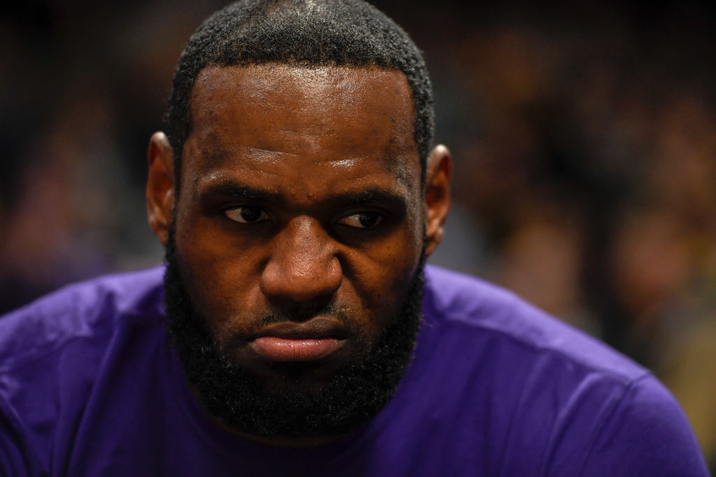 LeBron James of the Los Angeles Lakers makes an angry face