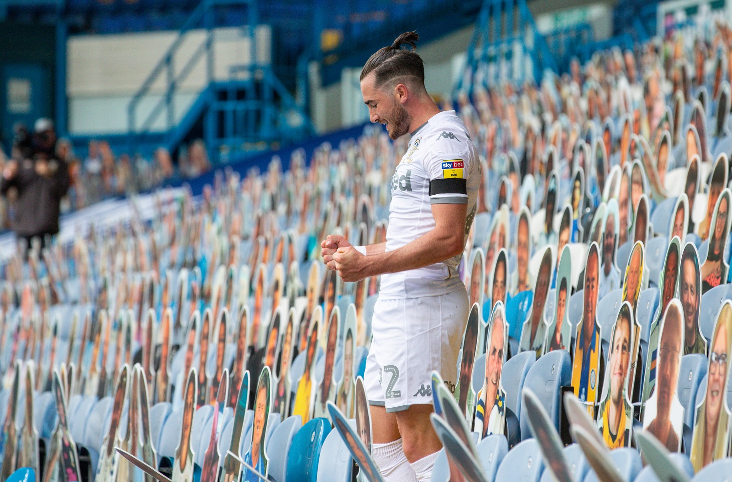 Leeds United's Jack Harrison celebrates scoring the team's third goal during the match vs. Fulham. | Alex Dodd - CameraSport via Getty Images