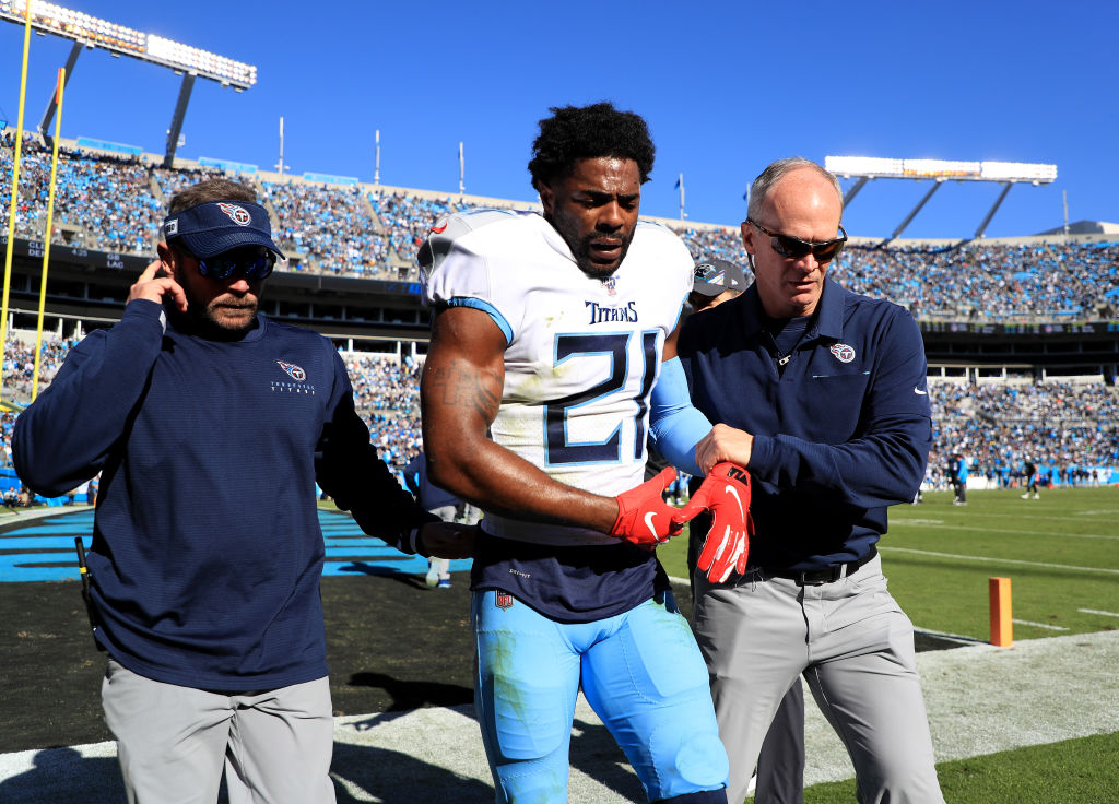 Malcolm Butler of the Tennessee Titans is taken off the field after an injury