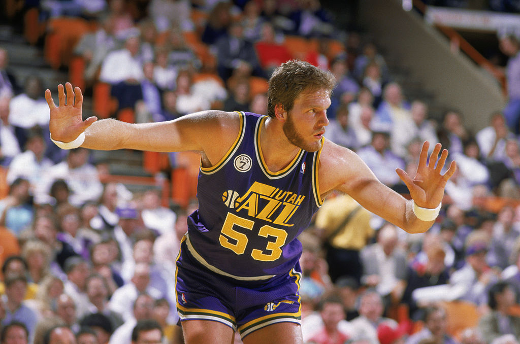 Mark Eaton of the Utah Jazz plays defense in 1988