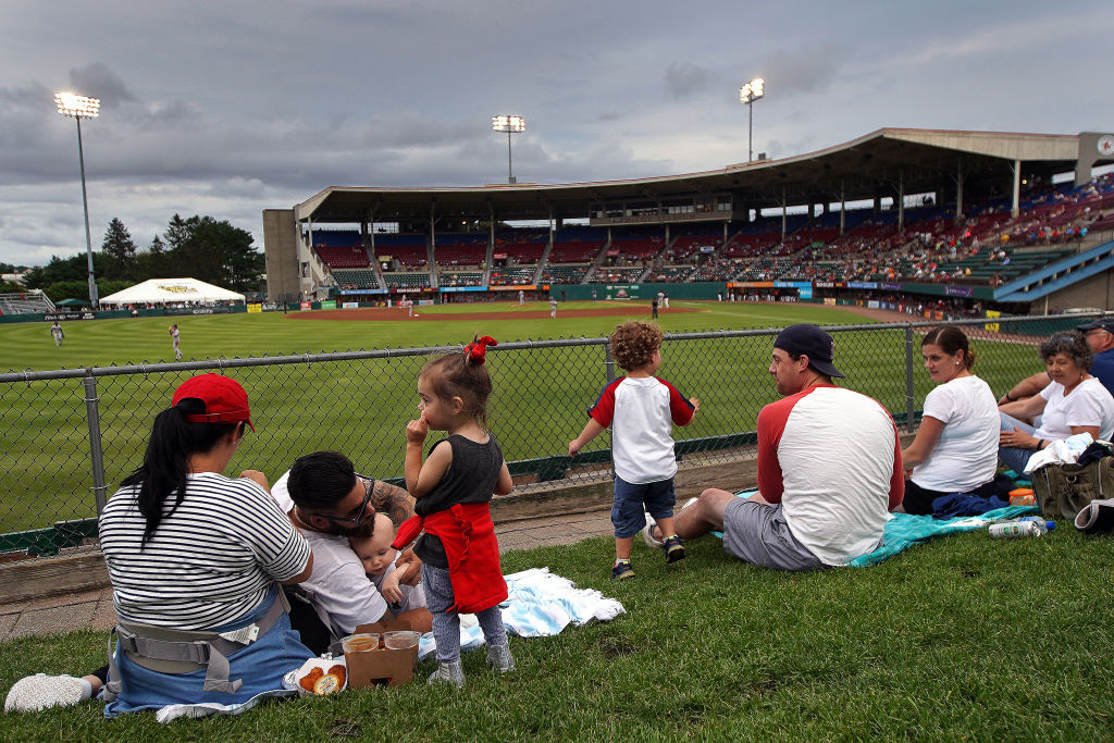 The Pawtucket Red Sox turned their outfield, seen in July 2019, into an open restaurant.