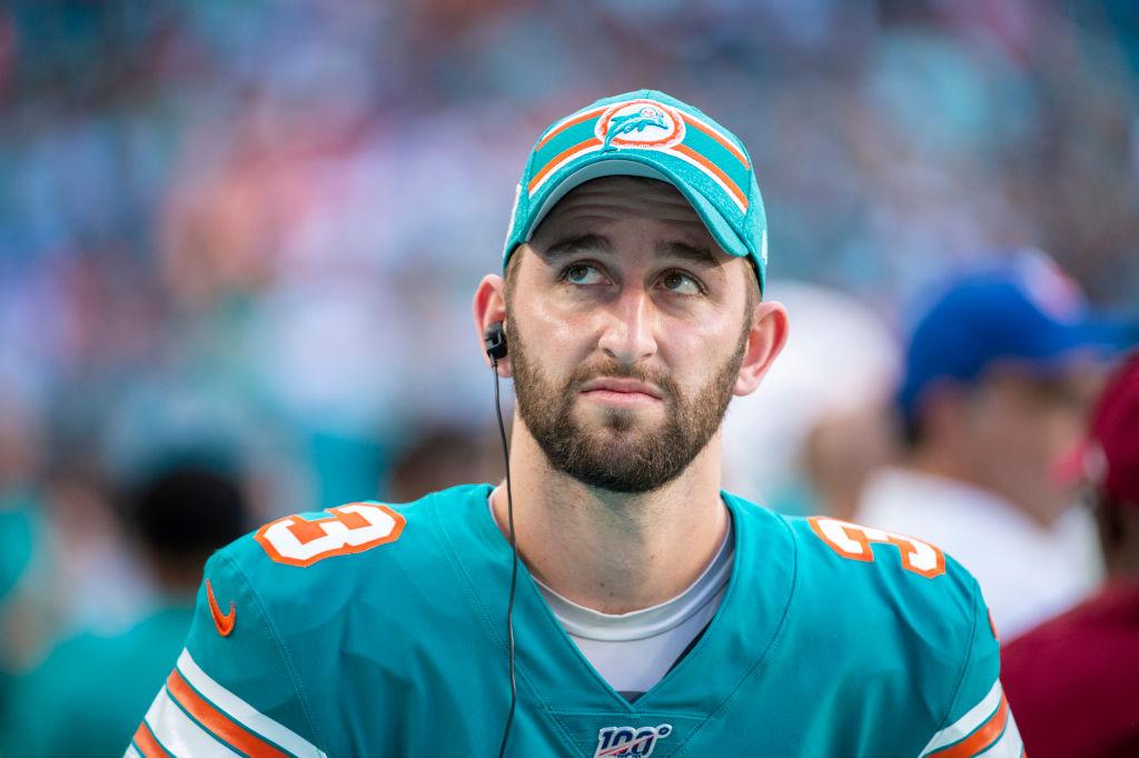 Miami Dolphins quarterback Josh Rosen on the sidelines