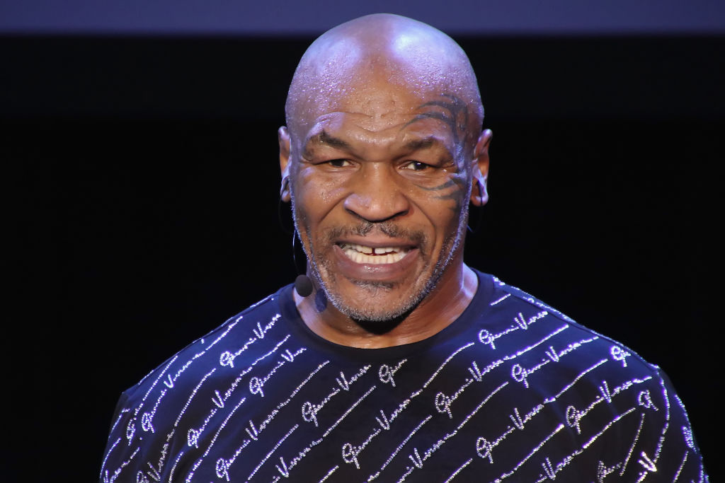 Mike Tyson on stage performing his one man show