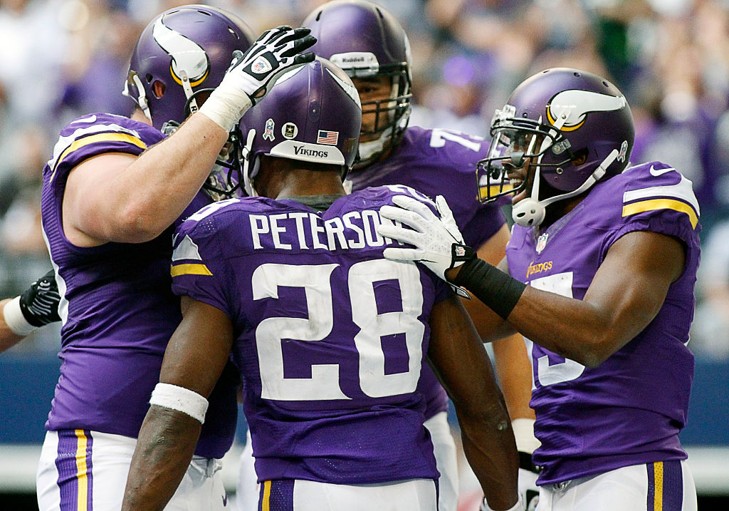 Minnesota Vikings running back Adrian Peterson after a TD with the offensive line
