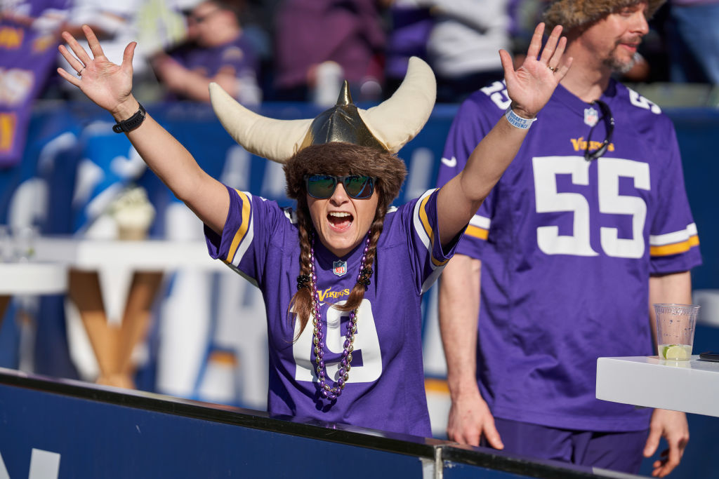 A Minnesota Vikings fan celebrates