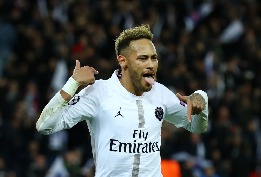 Neymar celebrates after scoring a goal