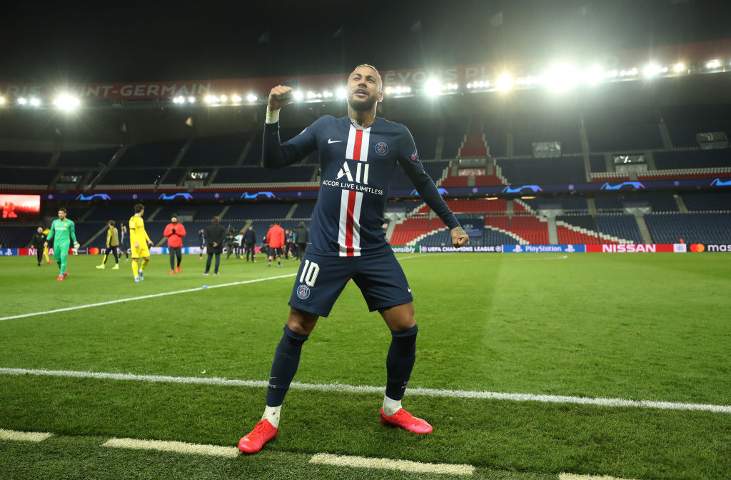 Neymar of Paris Saint-Germain celebrates victory