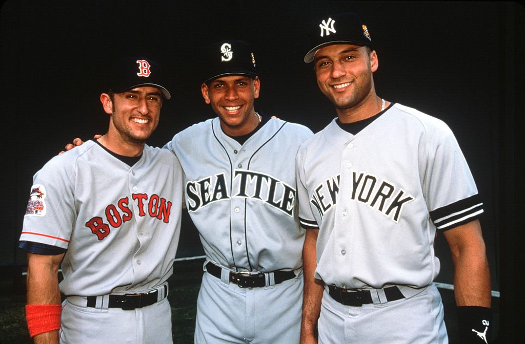 Nomar Garciaparra of the Boston Red Sox, Alex Rodriguez of the Seattle Mariners, and Derek Jeter of the New York Yankees