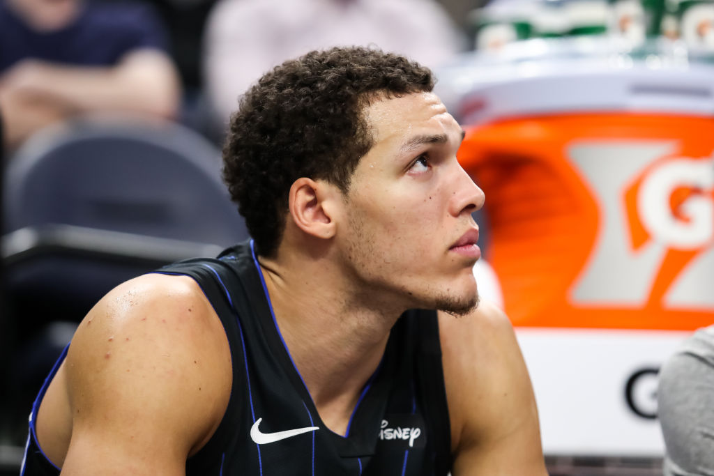 Orlando Magic player Aaron Gordon on the bench during a game
