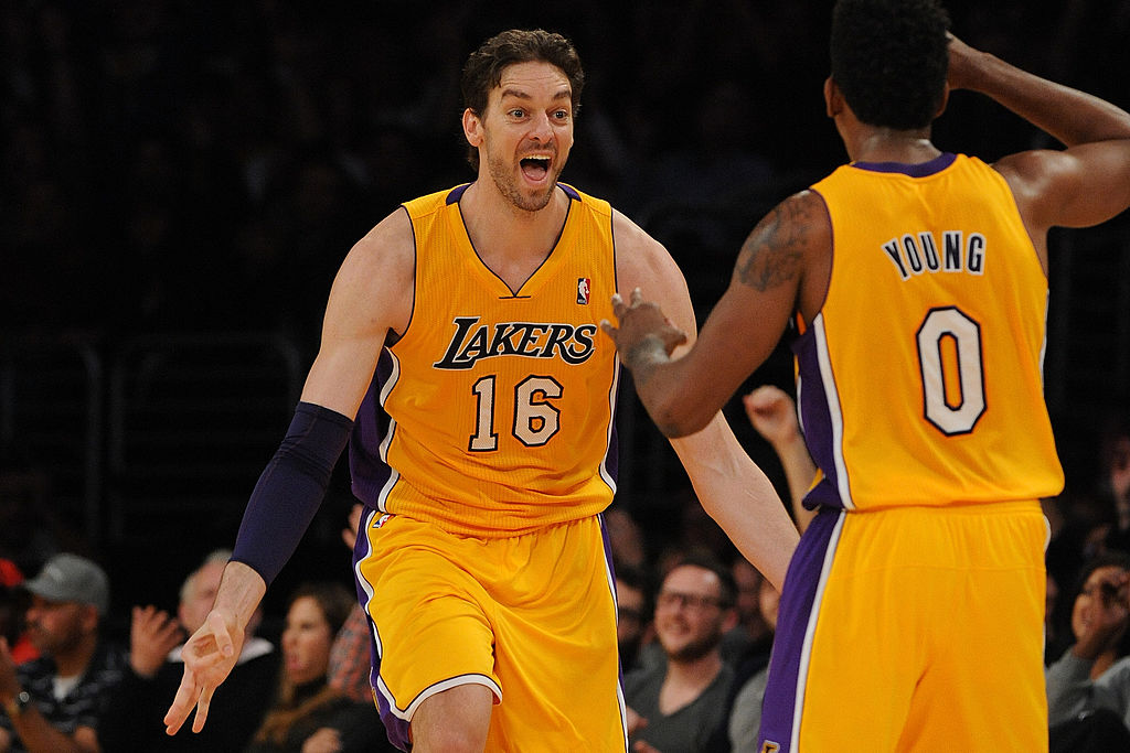 Pau Gasol and Nick Young of the Los Angeles Lakers