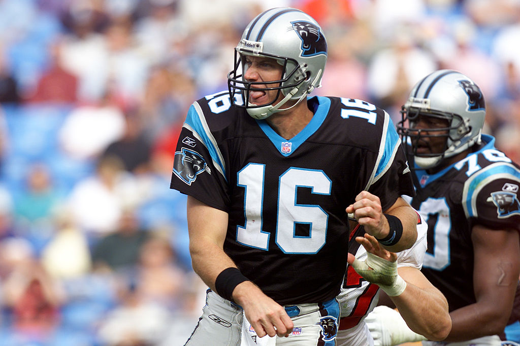 Quarterback Chris Weinke of the Carolina Panthers delivers a pass