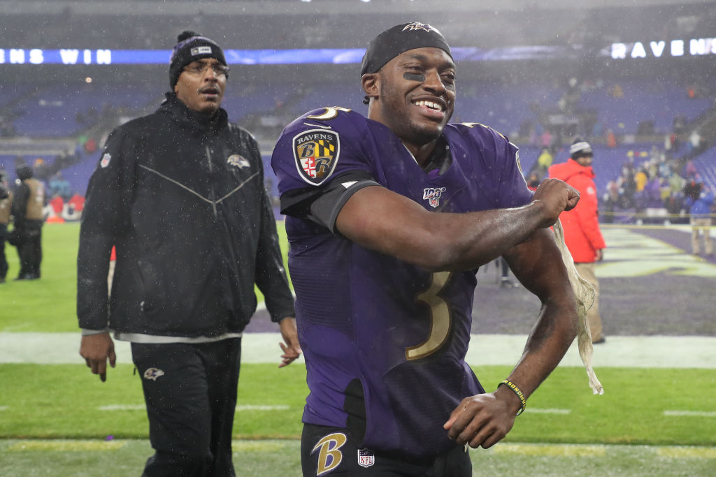 Robert Griffin III walking off the field after a Ravens game