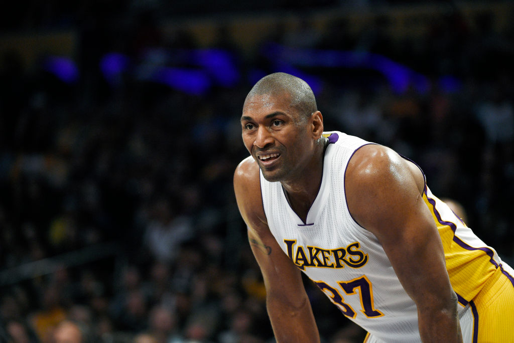 Ron Artest looking on during a Lakers game