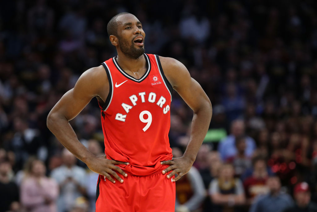 Serge Ibaka looking on during an NBA game
