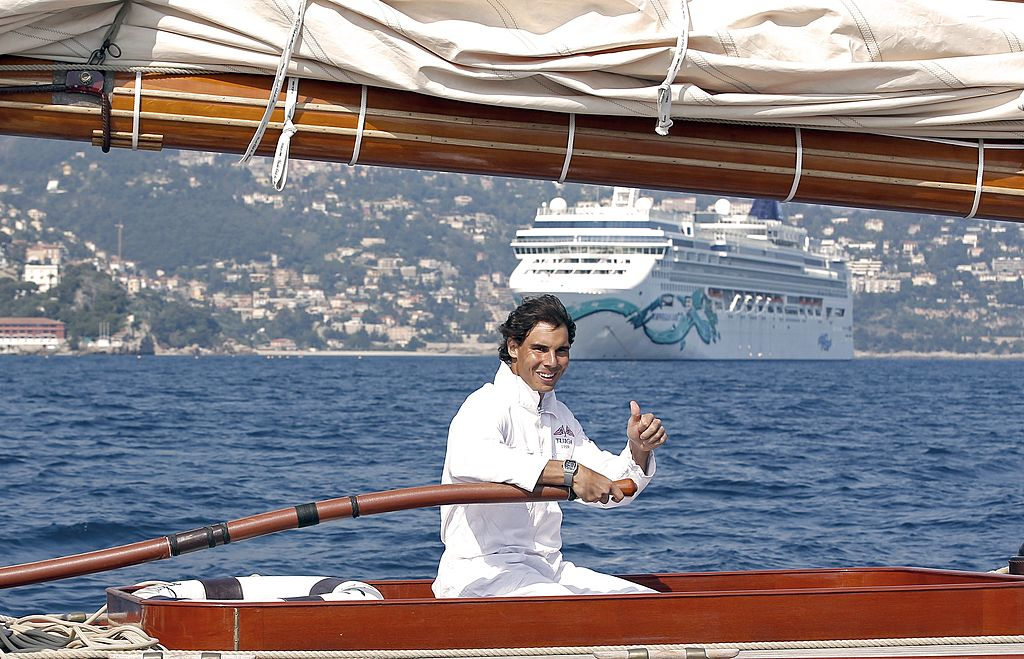 Spanish tennis player Rafael Nadal sails on a Tuiga yacht