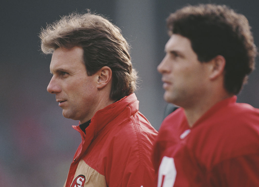 Steve Young and Joe Montana warming up before a 49ers game