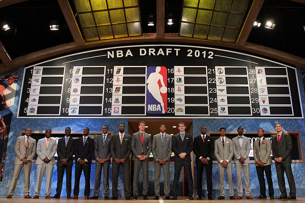 The 2012 Draft class poses prior to the first round of the 2012 NBA Draft