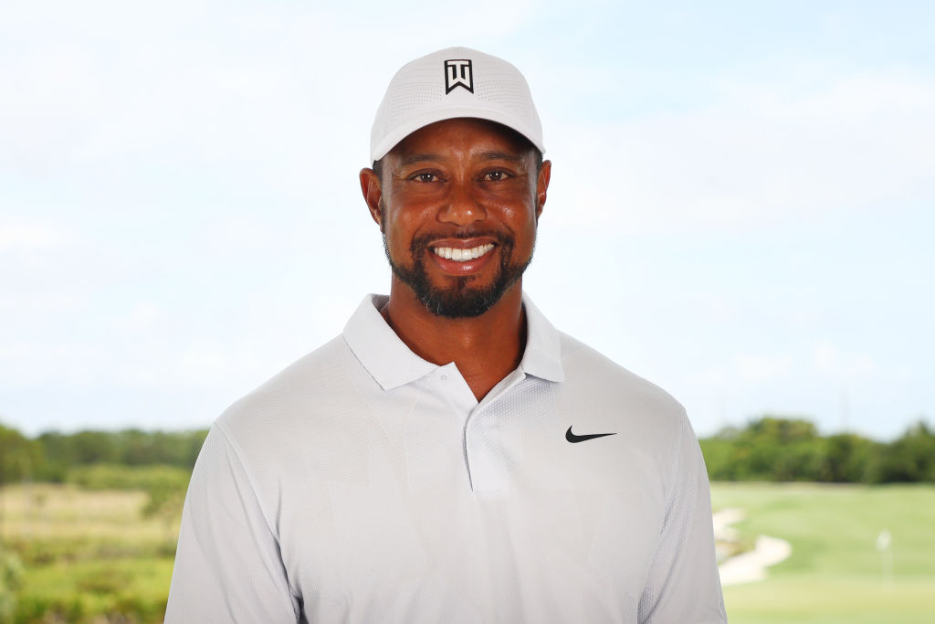 Tiger Woods poses for a portrait before 2020's The Match: Champions For Charity at Medalist Golf Club