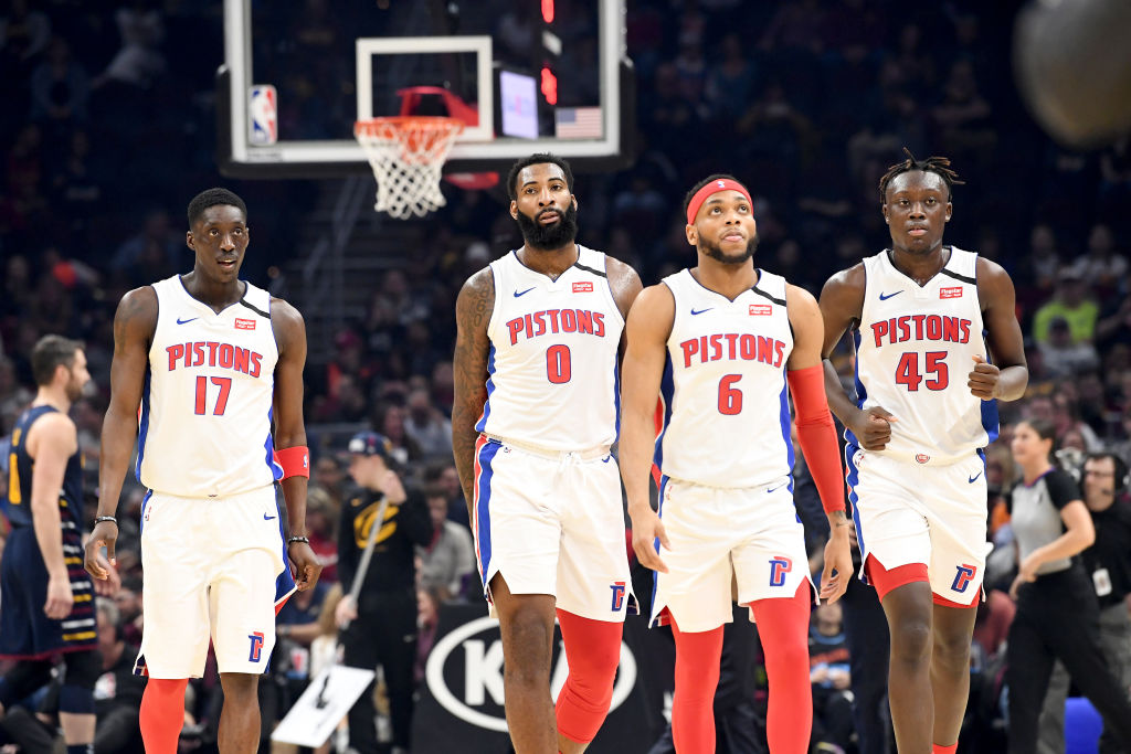 Tony Snell, Andre Drummond, Bruce Brown, and Sekou Doumbouya of the Detroit Pistons