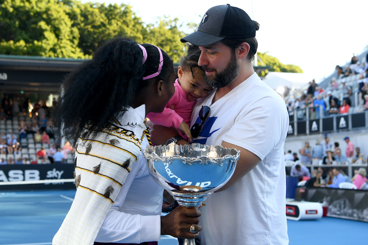 Tennis player Serena Williams, daughter Olympia, and husband Alexis Ohanian