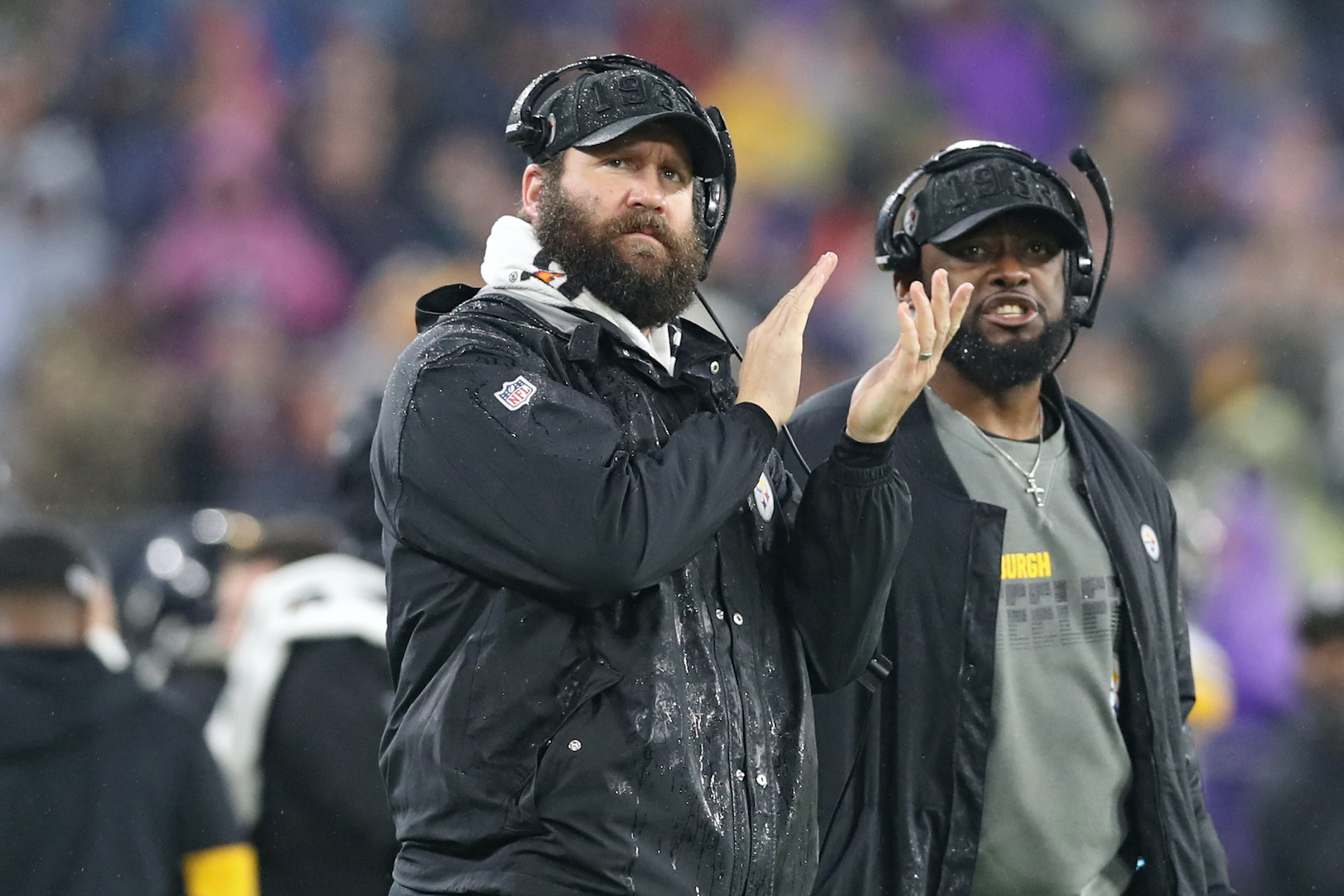Quarterback Ben Roethlisberger and head coach Mike Tomlin of the Pittsburgh Steelers