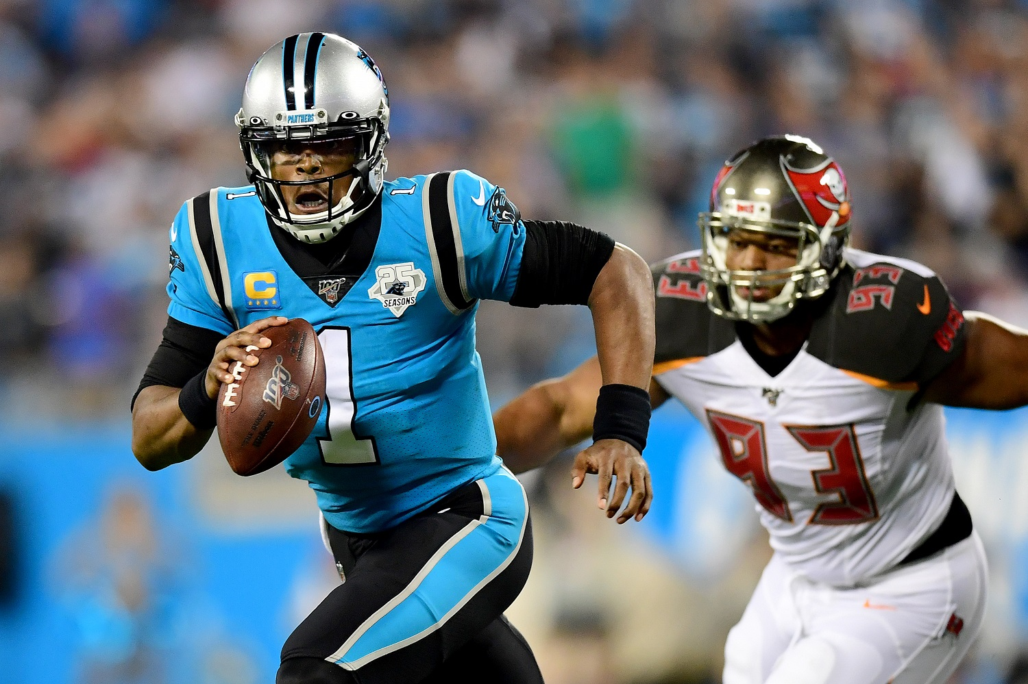 Cam Newton will get a fresh start with the New England Patriots. | Jacob Kupferman/Getty Images
