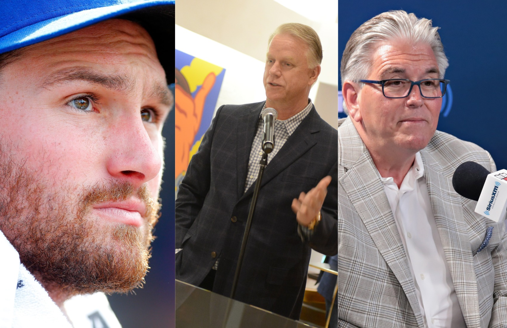 Former New York Mets second baseman Daniel Murphy (left) clashed with New York radio hosts Boomer Esiason (middle) and Mike Francesa when Murphy went on paternity leave.