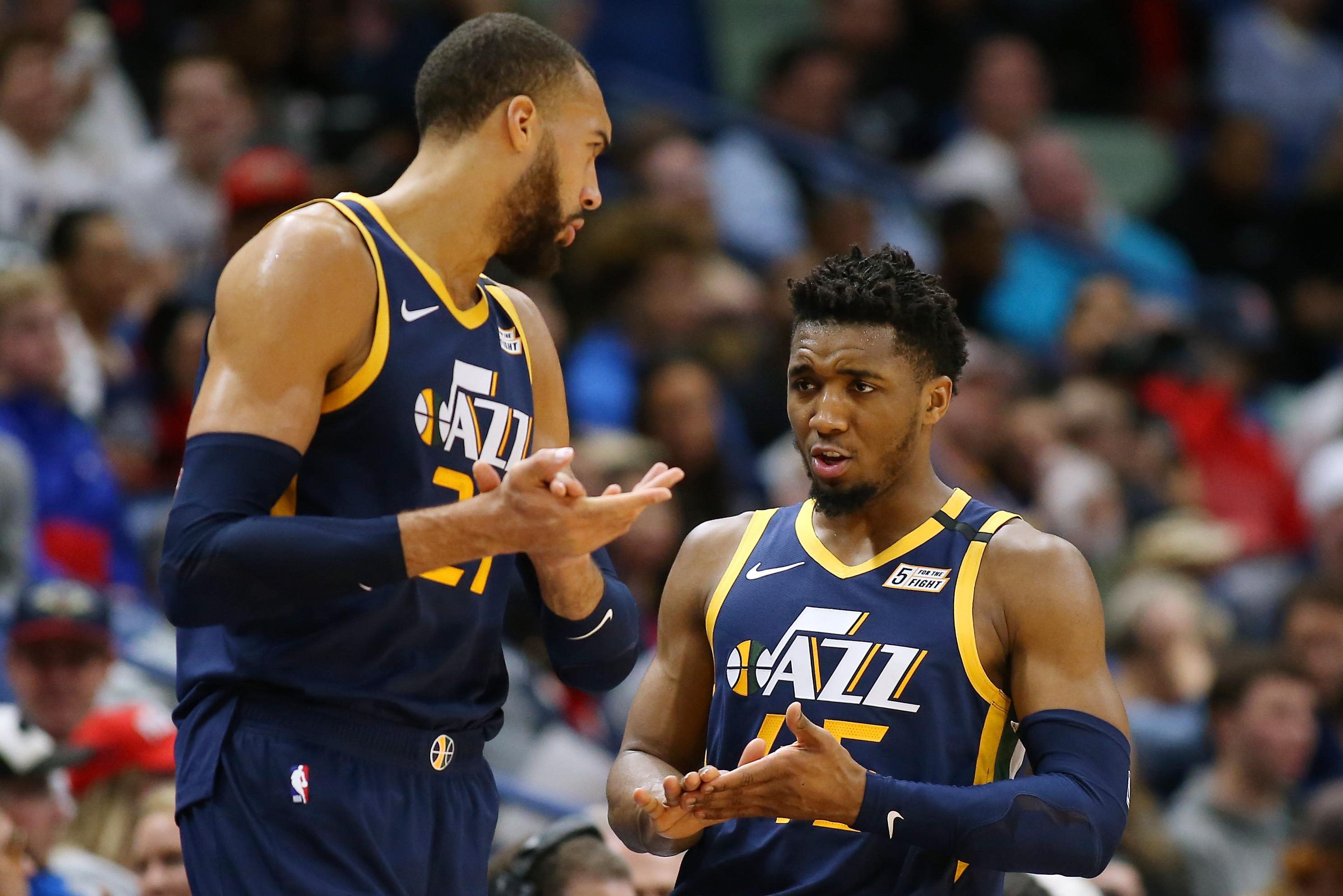 Utah Jazz's Donovan Mitchell and Rudy Gobert