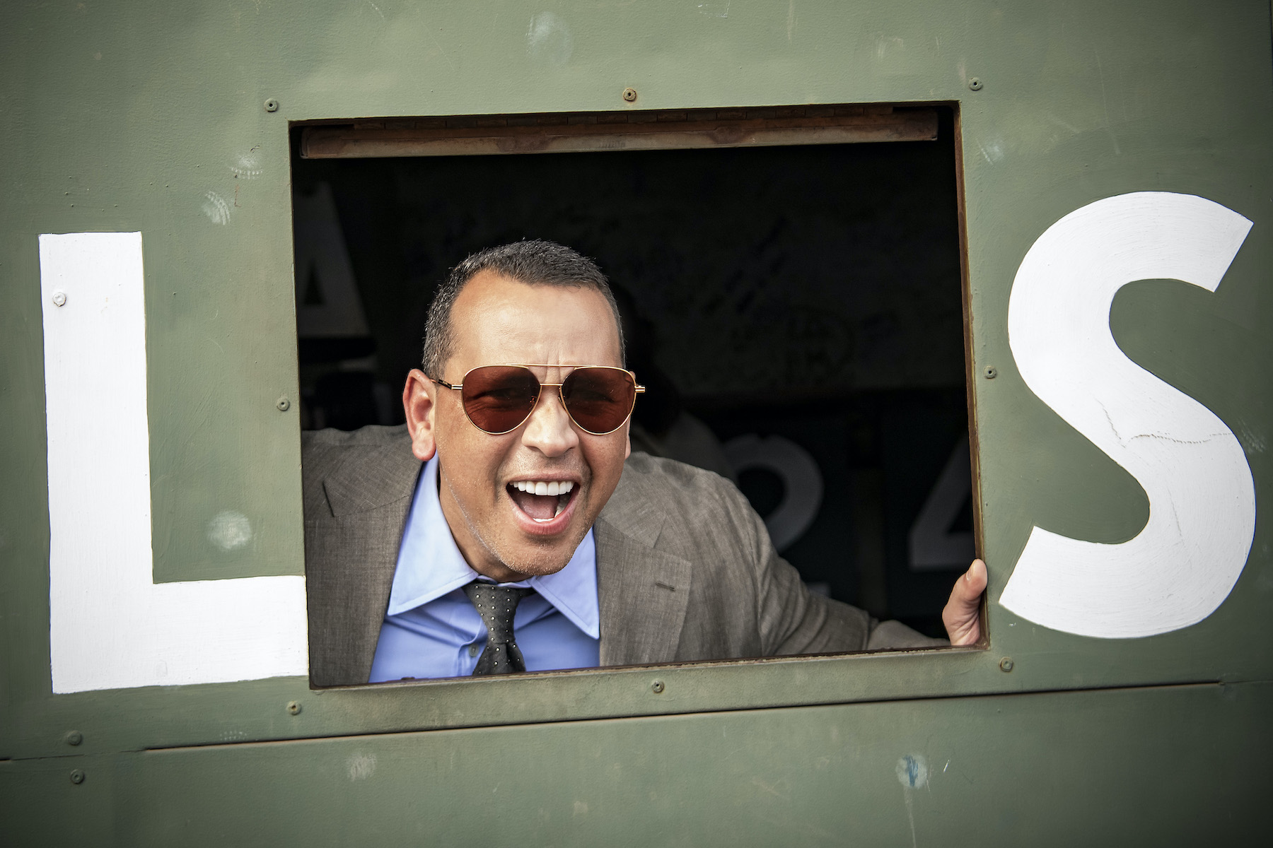 ESPN Sunday Night Baseball color commentator Alex Rodriguez poses from inside the Green Monster