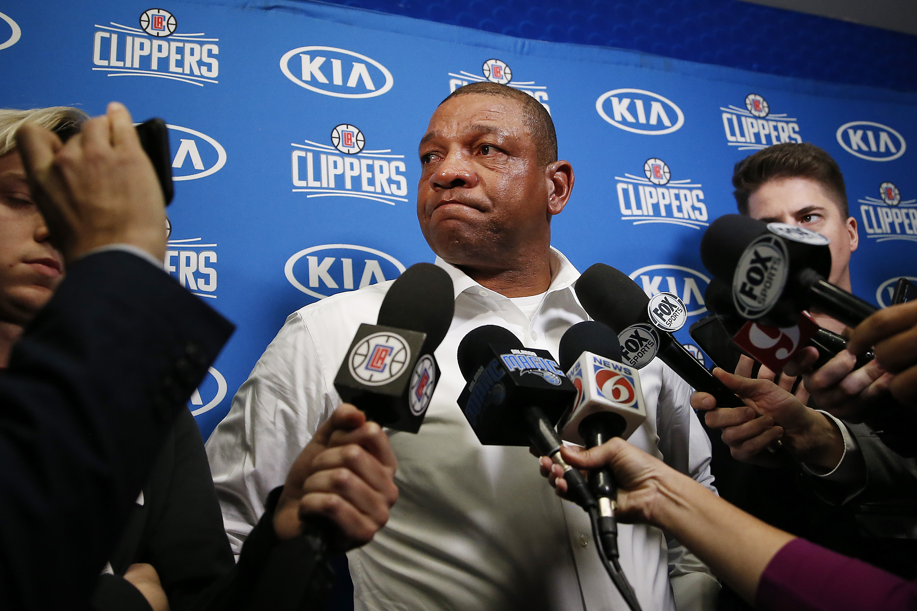 Head coach Doc Rivers of the LA Clippers addresses the media