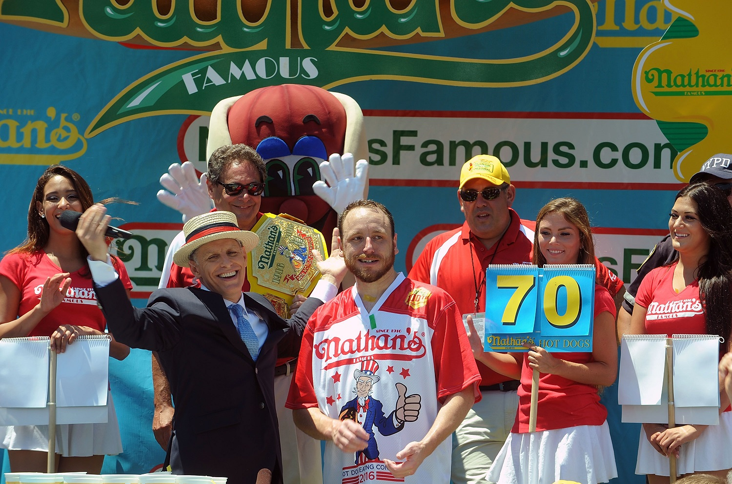 Joey Chestnut regained his Nathan's Hot Dog Eating title in 2016 by breaking his own record. Bobby Bank/WireImage/Getty Images