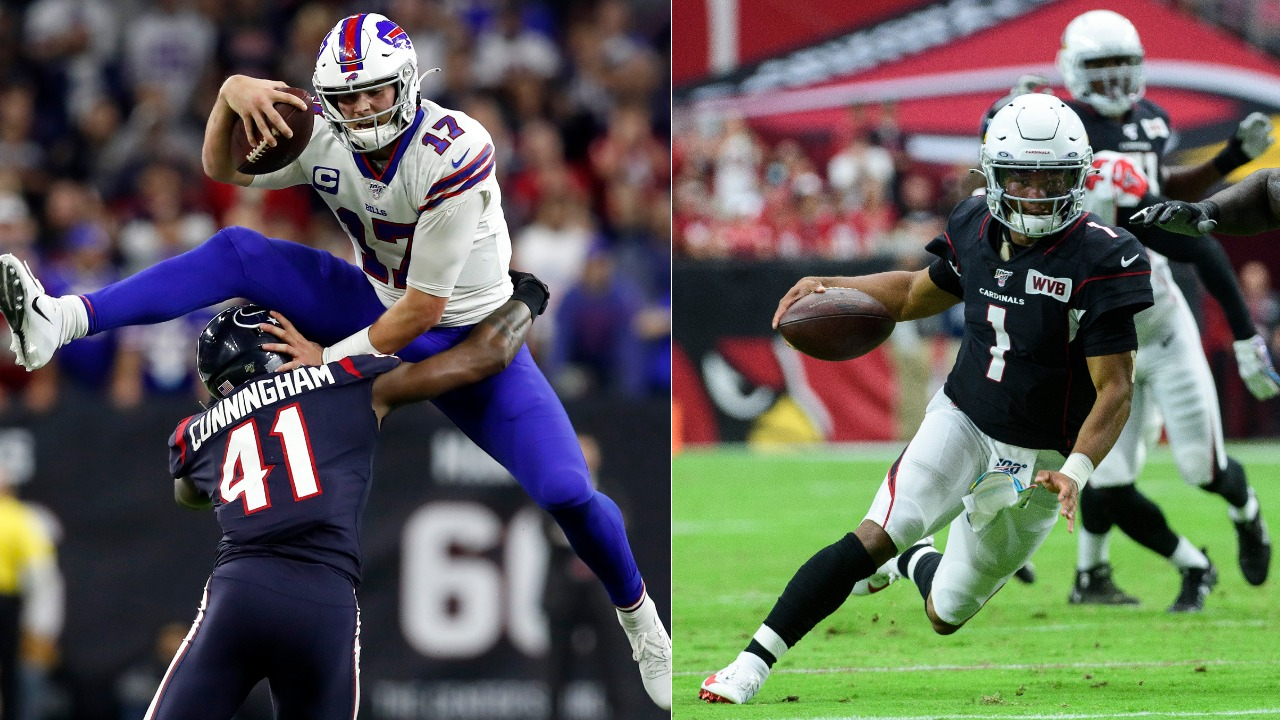 Buffalo Bills quarterback Josh Allen (L) ranked higher than Arizona's Kyler Murray on the 2020 NFL Top 100.