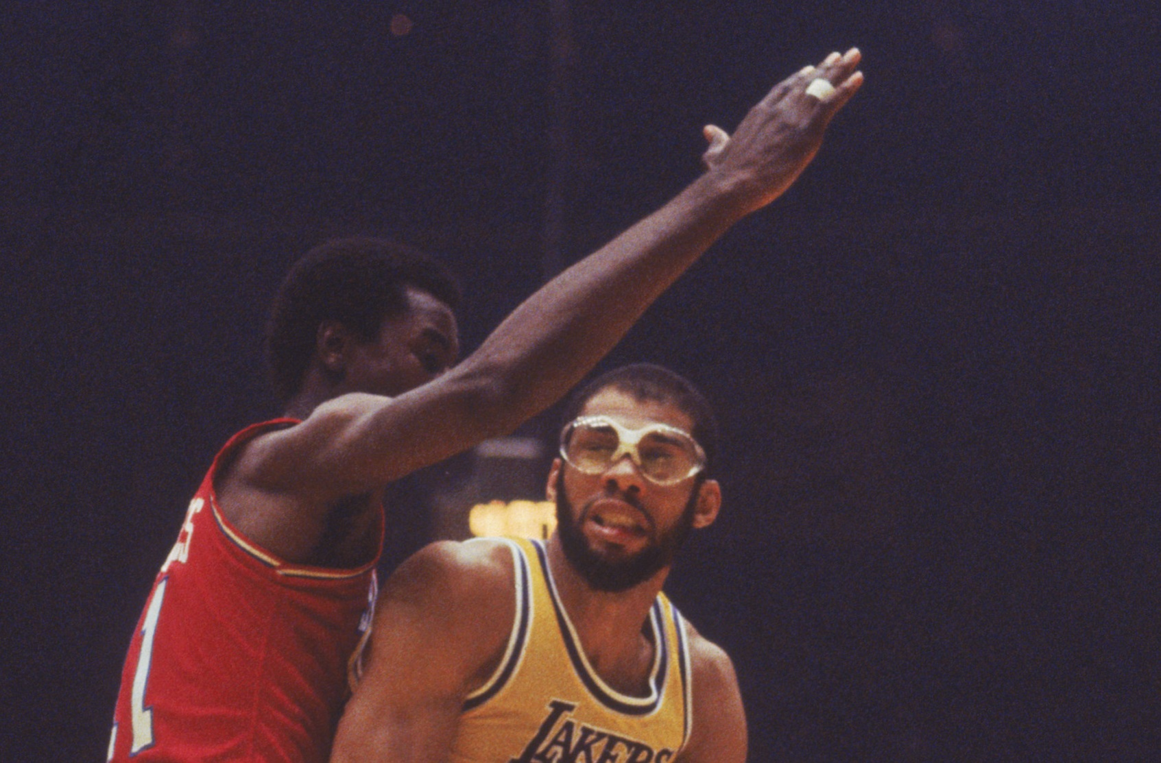 Kareem Abdul-Jabbar's goggles were a trademark of his Hall of Fame career in the NBA. | Focus on Sport via Getty Images