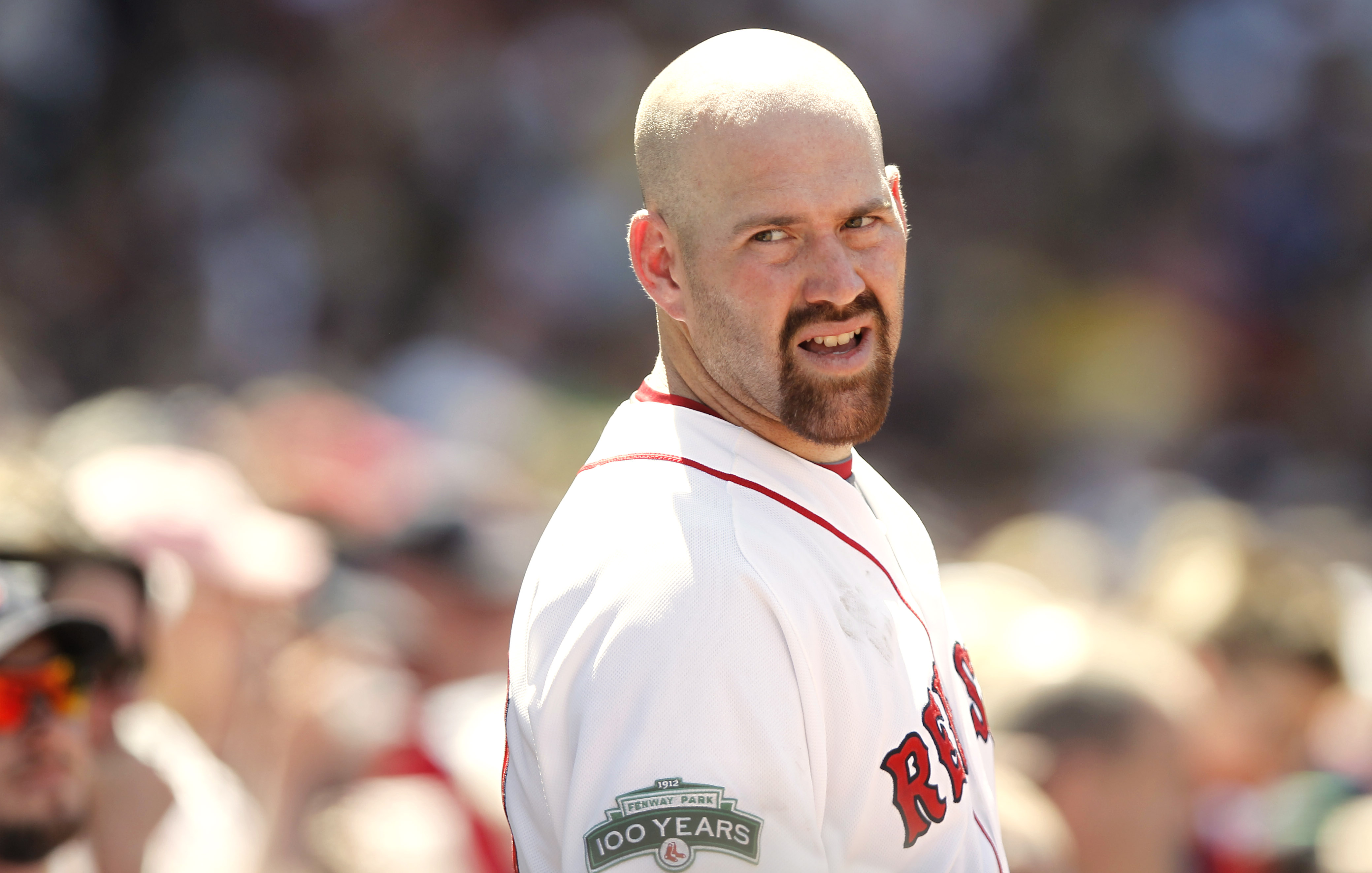 Kevin Youkilis looking back at the dugout