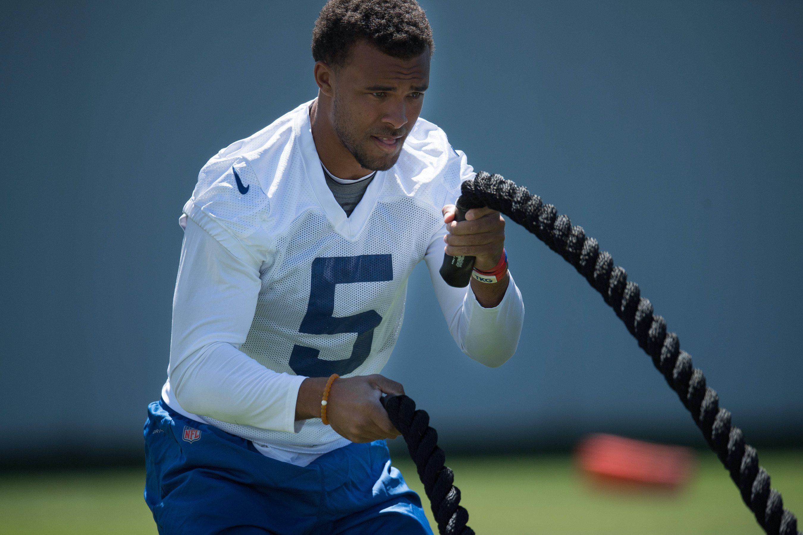 Colts wide receiver Trey Griffey works out on the sidelines